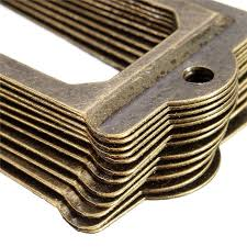12pcs antique brass metal label pull frame handle file name card holder for furniture cabinet drawer box case bin brass and metal furniture