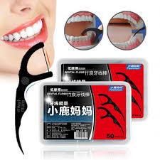 Y&W&F 50pcs/Box <b>Eco friendly Bamboo Charcoal</b> Dental Floss Stick ...