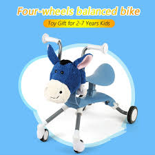 Kids Balance Bike 4 Wheels <b>Children's Push Scooter Balance</b> Bike ...