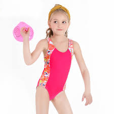 <b>2019 New Kids</b> Swimsuit <b>Girls One Piece</b> Swimwear Contrast Color ...