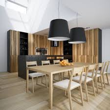 casual dining room lighting with double black drum shade pendant lamps over wooden dining set casual dining room lighting