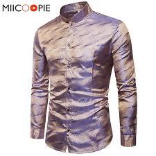 2019 <b>Mens Trend Night Club</b> Wear Coated Metallic Gold Shirts Party ...