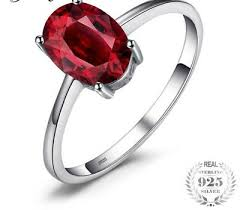 925 Sterling Silver <b>Natural Oval</b> 1.6ct Red Garnet Solitaire Ring ...
