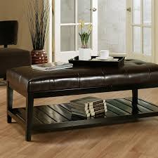 Coffee Table Into A Bench Crawford Leather Storage Bench Ottoman Coffee Tables At Hayneedle
