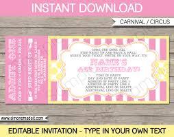 carnival birthday ticket invitations template carnival circus carnival birthday ticket invitations template carnival party circus party pink yellow