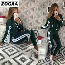 <b>ZOGGA</b> Solid Color Female Jogging Suits with <b>Zipper</b> High quality ...