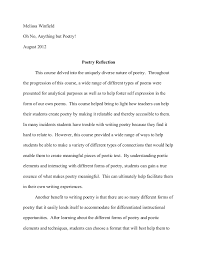 poetry reflection paper