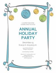 holiday party invitation  blue green and yellow or nts  holiday party invitation blue green and yellow ornts informal design