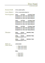 cv templates    free word downloads   cv writing tips   cv plazatraditional cv template