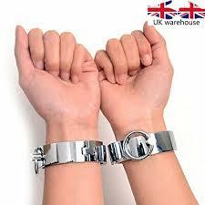 <b>1 pair</b> Stainless <b>Metal</b> Handcuffs Wrist Cuff Ankle Cuffs Unisex ...