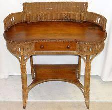 antique heywood wakefield wicker oak desk w chair set signed early 1910s rattan antique wooden desk chair