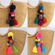 Exknl Bag <b>Fashion</b> Jewelry Tassel Car Keychain <b>Boho Style</b> Flower ...