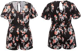 YUMDO Womens <b>Plus Size</b> Floral Print Jumpsuit Sleeveless Short ...