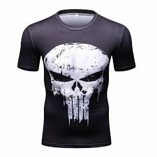 2017 New Men's Casual Fitness Top Punisher <b>Skull Printed</b> ...