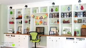 remodelaholic build a wall to built in desk and bookcase decorated shelves home is where cheap office shelving