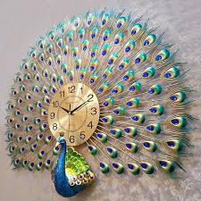 <b>Large</b> Peacock Digital <b>Wall</b> Clocks