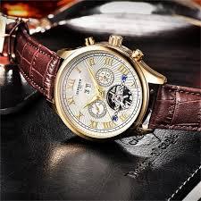 BINSSAW <b>Men</b> Automatic Mechanical Watch Tourbillon Leather ...