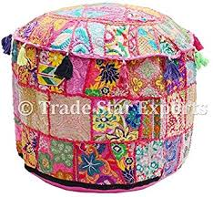 Baby Ottomans Beautiful <b>Round</b> Indian <b>Patchwork Pouffe</b>,Indian ...