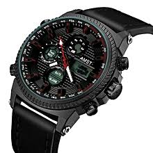 amst brand men leather canvas strap sport quartz watch led digital 50m waterproof swim army military wristwatches with gift box