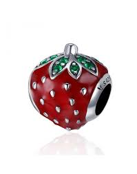 Heartley Jewelry <b>Red</b> Enamel Strawberry <b>Fruit</b> Bead Charm <b>Silver</b>