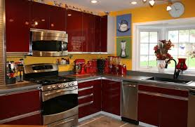 Wall For Kitchens Ideas Red Wall Kitchen Ideas Homes Design Inspiration