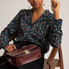 <b>Блузка</b> с пижамным воротником, цветочным <b>рисунком</b> и ...