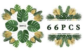 MAXZONE 66 Pieces 6 Kinds Artificial Palm Leaves ... - Amazon.com