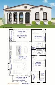 Small Spanish Contemporary Plan   Contemporary Home Plans    This small Spanish Contemporary house plan is a sqft single level home   bedrooms  a large  open concept greatroom  and a charming front porch