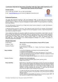 curriculum vitae senior document controller total years uae expe