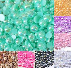 Online Shop <b>500Pcs Mixed 2-10mm Colorful</b> AB Half Round Pearl ...