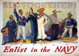 u s navy recruiting posters and advertisements to  all together enlist in the navy sailors of six nations