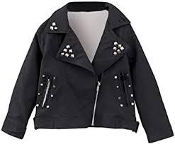 Mousmile Toddler Baby <b>Girls</b> Shiny <b>Rivet Leather Jacket</b> Lapel ...