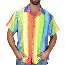 <b>Mens</b> New Summer Rainbow Printed Short-Sleeve <b>Shirt Fashion</b> ...