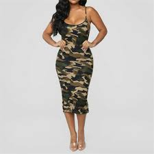 Sleeveless Spaghetti Strap Camouflage Dress Women <b>Fashion</b> O ...