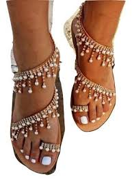 Womens Summer Bohemia Flat Sandals Beads Pearl ... - Amazon.com