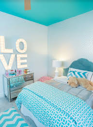 Turquoise Bedroom Turquoise Blue Girls Bedroom Features A White Feather Chandelier