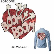 <b>ZOTOONE</b> Sweet BOOM BOOM Red Heart Patch Sew on Large ...
