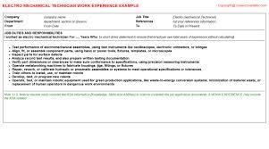 mechanical technician job titleelectro mechanical technician cv work experience