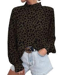 SySea <b>Women's</b> Casual <b>Leopard</b> Print <b>Chiffon Shirts</b> Turtle Neck ...