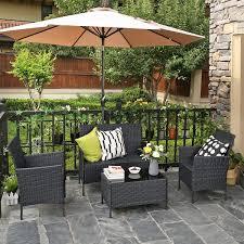 Red Barrel Studio® Millcreek <b>Garden 4 Piece</b> Rattan Sofa Seating ...