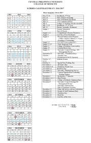 central philippine university cpu school calendar 2016 2017 college of medicine first semester