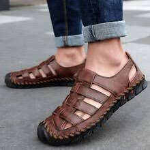 Man Sandals Classic Roman Cowhide Summer Sandals <b>Outdoor</b> ...