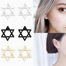 A Pair Of <b>Stylish</b> Personality <b>Hollow</b> Six-Pointed Star Earrings ...