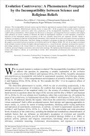 evolution controversy and the incompatibility of science and evolution controversy int j sci soc 14 2015 paz y mino c