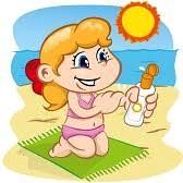 Resultado de imagen de niños usando crema solar en la playa cartoon