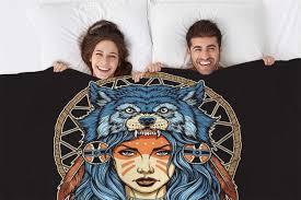 Mugod Throw Blanket Native American <b>Girl with Wolf Headdress</b> ...
