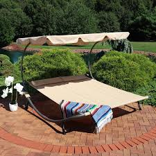Sunnydaze Decor Double Chaise <b>Outdoor Lounge Bed with</b> Canopy ...