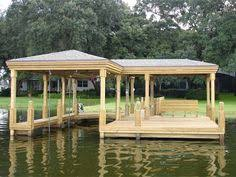 ideas about Boat Dock on Pinterest   Floating Dock  Dock    I don    t think our lake will even allow this wide of a dock  but I still love it   hammock lake house outdoors