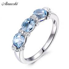 <b>AINUOSHI</b> 3 Stones Ring 925 Silver 1.5 Carat <b>Oval</b> Cut <b>Sky</b> Blue ...