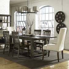 seven piece dining set: seven piece dining set with rectangular table and upholstered host chairs